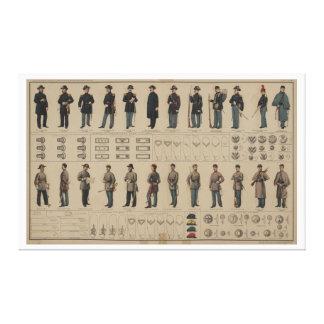 Unión de la guerra civil y uniformes de los soldad impresiones en lona estiradas