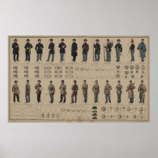 Unión de la guerra civil y uniformes de los soldad póster