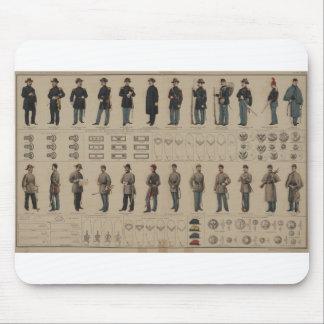 Unión de la guerra civil y uniformes de los soldad tapetes de ratón