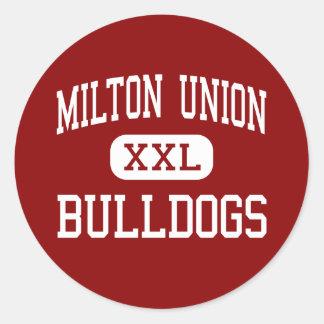 Unión de Milton - dogos - alta - Milton del oeste Pegatina Redonda