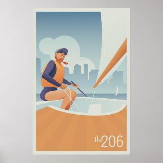 Unión del lago sailing, Seattle Posters