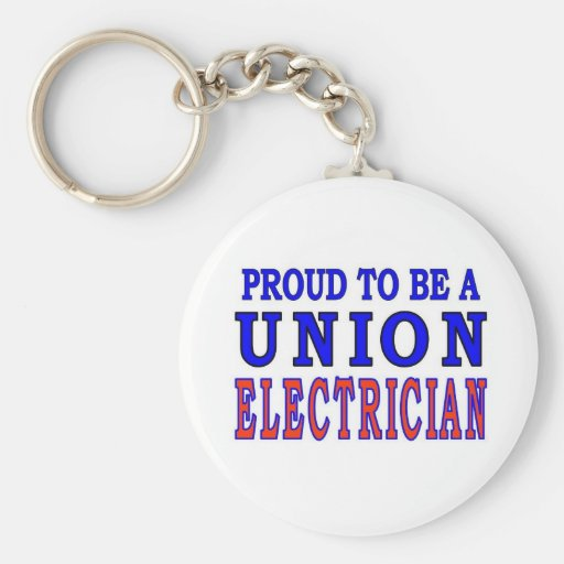 UNION ELECTRICIAN BASIC ROUND BUTTON KEYCHAIN