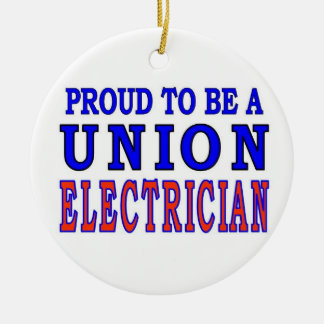 UNION ELECTRICIAN Double-Sided CERAMIC ROUND CHRISTMAS ORNAMENT