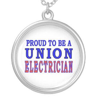 UNION ELECTRICIAN ROUND PENDANT NECKLACE