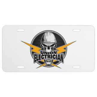 Union Electrician: Skull and Thunderbolts License Plate