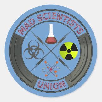 Unión enojada del científico pegatinas redondas