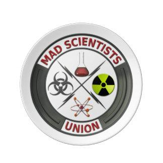 Unión enojada del científico plato de cerámica