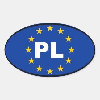 Unión europea de Polonia PL Colcomanias Ovaladas