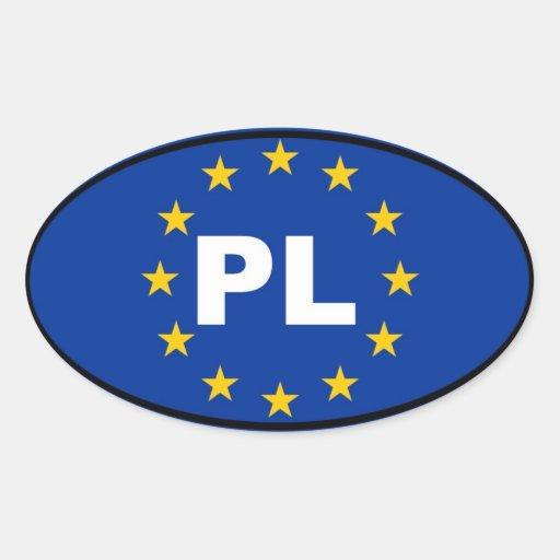 Unión europea de Polonia PL Pegatina Ovalada