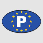 Unión europea de Portugal P Pegatinas De Óval