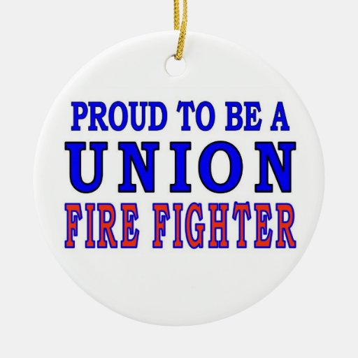 UNION FIRE FIGHTERS Double-Sided CERAMIC ROUND CHRISTMAS ORNAMENT