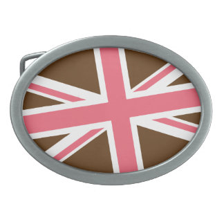 Union Flag Buckle — Oval (Brown/Pink) Belt Buckle