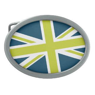 Union Flag Buckle — Oval (Navy/Lime) Belt Buckles
