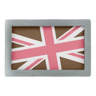 Union Flag Buckle — Rectangle (Brown/Pink) Belt Buckle