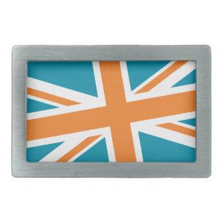 Union Flag Buckle — Rectangle (Teal/Orange) Belt Buckle