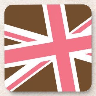 Union Flag Coasters Set/6 (Brown/Pink)