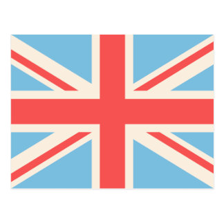 Union Flag/Jack Design Cream, Light Blue & Red Postcard