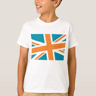 Union Flag Kid's Shirt (Teal/Orange) CUSTOMIZABLE