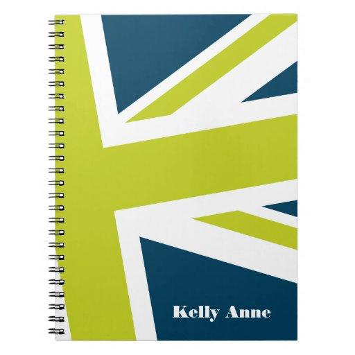 Union Flag Notebook (Navy/Lime) CUSTOMIZABLE