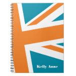 Union Flag Notebook (Teal/Orange) CUSTOMIZABLE
