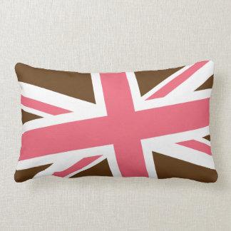 Union Flag Pillow — Lumbar (Brown/Pink)
