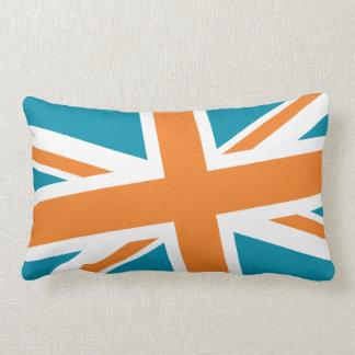 Union Flag Pillow — Lumbar (Teal/Orange)