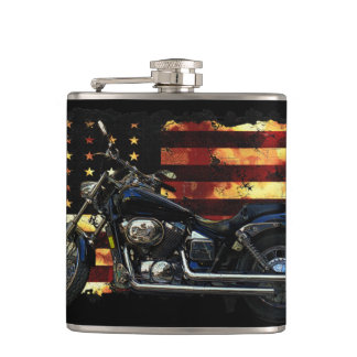 Union Flag, Stars and Stripes, Motorcycle, Hip Flasks