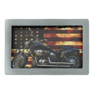 Union Flag, Stars and Stripes, Motorcycle, Hog Rectangular Belt Buckle