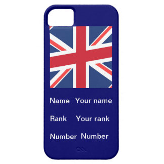 Union flag with Name, Rank and Number blue iPhone 5 Cover