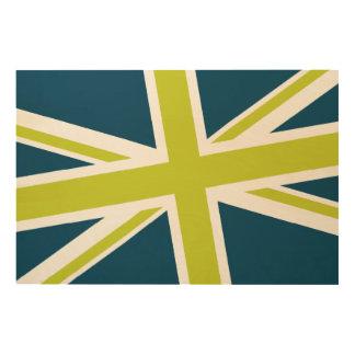 Union Flag Wood Sign 36x24 (Navy/Lime) Wood Canvas
