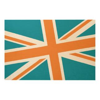Union Flag Wood Sign 36x24 (Teal/Orange) Wood Print