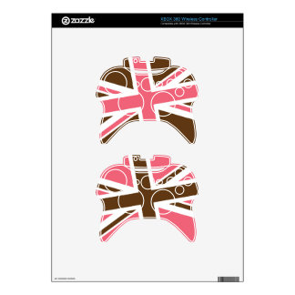 Union Flag Xbox 360 Controller Skin (Brown/Pink)