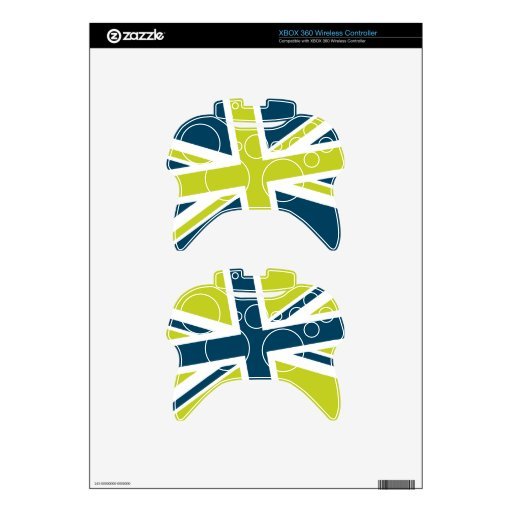 Union Flag Xbox 360 Controller Skin (Navy/Lime)