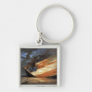 Union Flames on Rebel flagship in the Civil War Keychain