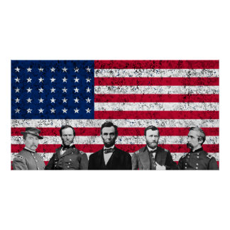 Union Heroes and The American Flag -- Border Poster