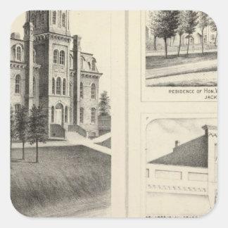 Union High School, residence & Jackson County Bank Square Sticker