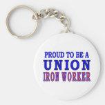 UNION IRON WORKER BASIC ROUND BUTTON KEYCHAIN