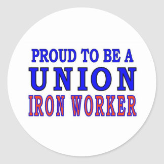 UNION IRON WORKER CLASSIC ROUND STICKER