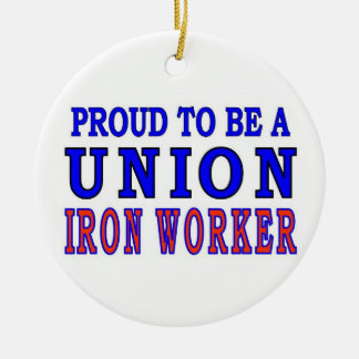 UNION IRON WORKER Double-Sided CERAMIC ROUND CHRISTMAS ORNAMENT