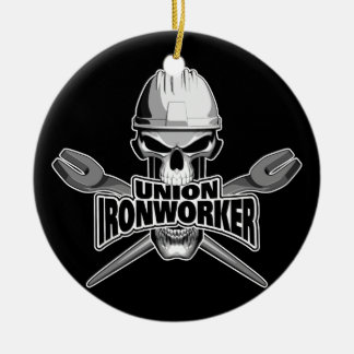 Union Ironworker: Skull and Spuds Ceramic Ornament