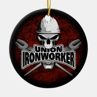 Union Ironworker with Crossed Spuds Ceramic Ornament