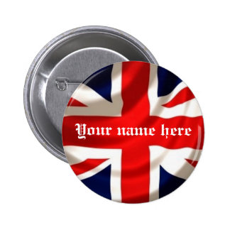Union Jack (añada su propio nombre) Pin Redondo 5 Cm