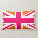 Union Jack anaranjado y rosado Cojin