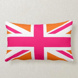 Union Jack anaranjado y rosado Cojín