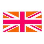 Union Jack anaranjado y rosado Etiquetas De Envío
