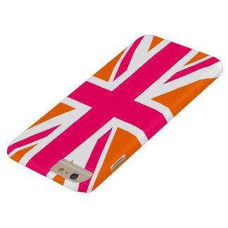 Union Jack anaranjado y rosado Funda De iPhone 6 Plus Barely There