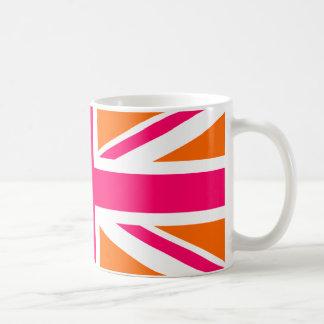 Union Jack anaranjado y rosado Tazas De Café