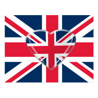 Union Jack and 3D Heart Art Postcard