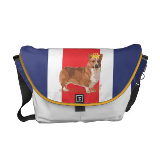 Union Jack and Corgi with Crown Messenger Bag