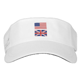 Union Jack and Old Glory flags of the UK and US. Visor